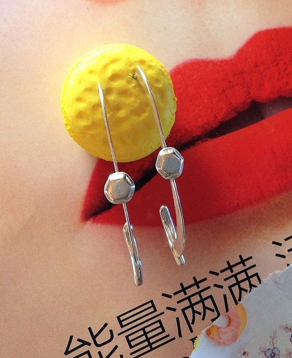 Minimalist Long Hoop Earrings Silver | Statement Earrings Large | Sterling Silver Hoops | Handmade Earrings | Metalsmith Earrings | OOAK