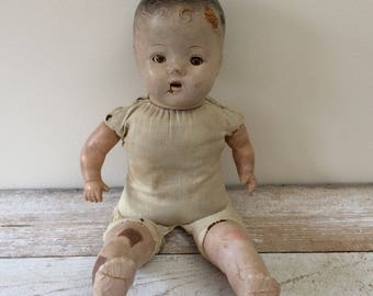 Antique Composition Baby Doll, Toddler Doll