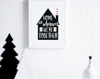 Home Is Where Art Printable, Printable Housewarming Gift, Black and White Art Print, Scandinavian Decor, Modern Typography Instant Download