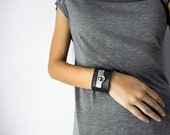 Grey Leather Cuff Bracelet for Women, Handmade Leather Jewelry