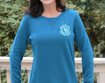 Monogrammed Longer Length  Sweatshirt  --NOW up to 3X--NEW COLORS