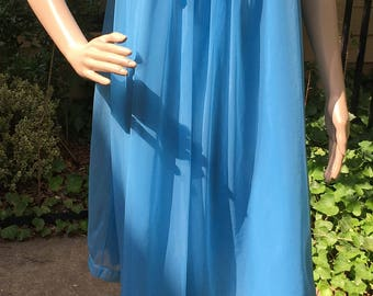 Vintage Peignoir Nightgown 60s Sailor Bright Blue Henson Kickernick Sheer Nylon Layered Negligee M L