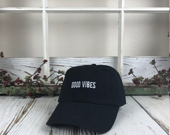 Good Vibes Hat Embroidered Baseball Cap Dad Hat Low Profile Curved Bill, Black