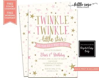 Twinkle Twinkle Little Star Birthday Party Invitation - Girls First Birthday Printable - Little Star Invite - Baby Shower - LR1076