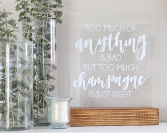 "acrylic calligraphy wedding sign: custom 8"" x 10"" or 11"" x 14"" 