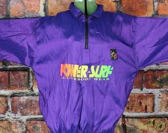 Power-Surf Neon Purple Vintage 1990sPullover Jacket