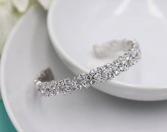 Bridal bracelet, Cuff Wedding Bracelet, Silver cz wedding bracelet, cz bracelet, cubic zirconia bracelet, bridal jewelry Bracelet 510926654