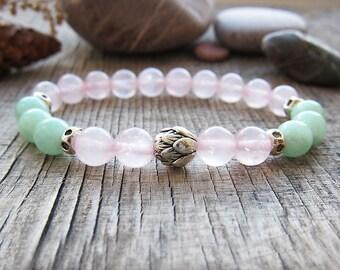 Gifts for girls gift ideas for woman Lotus bracelet Rose quartz bracelet Fertility bracelet Childbirth bracelet Women Bracelet Love bracelet