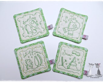 Mug rug - winter - green - set of 4