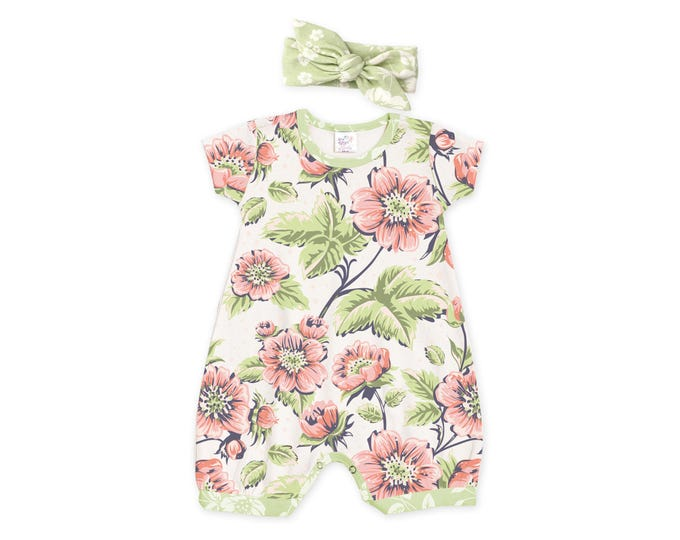 Baby Girl Outfit, Newborn Girl Outfit, Baby Girl Bubble Romper, Retro Floral Romper, Baby Headband, Baby Girl Bubble Romper, Tesababe