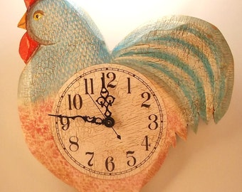 Blue Rooster Clock