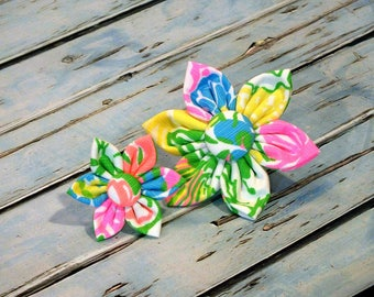 Lilly Pulitzer Hibiscus Stroll Flower for Dog collar, Cat collar, collar flower, pet collar flower, wedding flower, flowers for dog collars