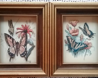 Shadow Box Paper Tole Butterflies, Paper Toling Art, Butterfly Paper Tole, Paper Tole Artwork, Butterfly, Framed Butterfly Art, Paper Toling