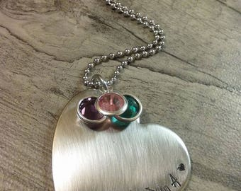 Mother's day gift,grandma,gramma,mum,nana,yia yia,aunt,mimi,birthstone,personalized necklace hand stamped jewelry
