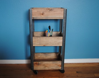 Rustic Industrial Storage Cart with Rolling Wheels Restroom Storage Room, Office Storage, Laundry Room Storage