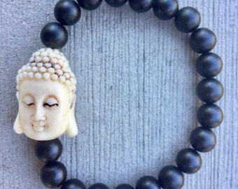 Agate Buddha Bracelet- Fossil Stone Bracelet- Black Matte Agate Bracelet- Womens Buddha Bracelet-Recovery Bracelet- 8mm Stone Bracelet