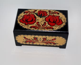 Russian Wooden Jewelry Box Black Ornament Wood Box Hand painted Treasury Box Pyrography Trinket Box Rosemaling Roses Traditional Flowers
