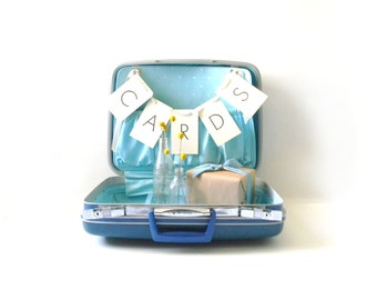 Vintage Blue Samsonite Suitcase/ Wedding Card Holder