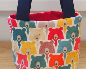 Precious treasures bag, scandinavian style rainbow bear fabric, children's bag
