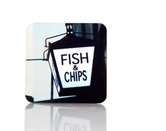 Fish and Chips Coaster, London Photography Coaster - Vintage Sign Retro Sign Light Box Gas Lamp London Art Drink Coasters, Photo Coasters