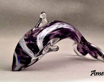 Glass Hand Sculpted Colorful Dolphin Ocean Life Creatures of the Deep