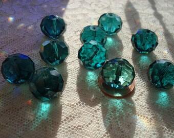 16mm ! OneDozen Big Beautiful Peacock Green/Malachite Green Rondelles 12x16mm. Largest Faceted Glass Rondelle. Big  Focal, SunCatcher Beads.