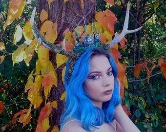 Deer antlers, fauna antlers, antler with crown, stag horns, Halloween costume, costume headpiece