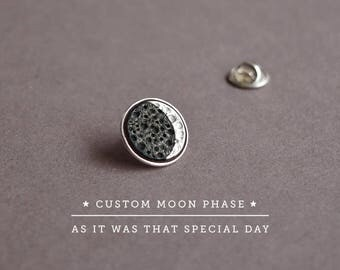 Anniversary Gift Personalized Custom Moon Phase Pin Sterling Silver Moon Phase Date, Celestial Jewelry, Moon Pin, Custom Gift,Custom Jewelry