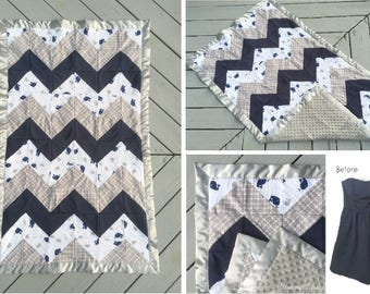 CHEVRON Baby Blanket made from Bridesmaid Dress - Baby Shower Gift for the Expecting Bride - Baby Girl - Baby Blanket - Reclaimed Kids