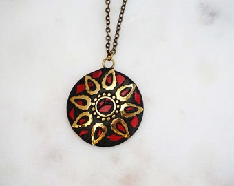Red, Gold and Bronze Tribal Pendant Necklace
