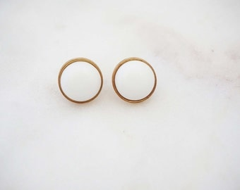White and Gold Post Stud Earrings