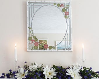 Faux Bamboo Mirror Vintage Hand Painted Mirror Decorative Mirror Hall Mirror Floral Mirror White Frame M200