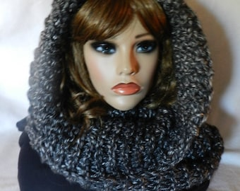 Hand Knitted Cowl Hood Snoodie  V5628