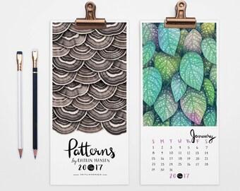 2017 Calendar, Wall Calendar, Pattern Calendar, Christmas Gift, Holiday Gift, Hand Lettering, Illustrated Calendar, 5 x 11 Calendar