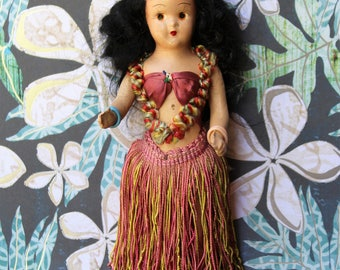 Antique Composition HAWAIIAN HULA DOLL Vintage Souvenir