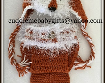 Baby Shower Baby Fox Baby Crochet Baby Photo Prop Baby Hat and Diaper Cover Baby Shower Gift Handmade Keepsake