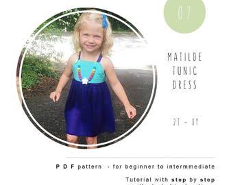Girl dress sewing pattern. Boho tunic pdf pattern. Girl sewing pattern. Dress tutorial. Children sewing pattern.