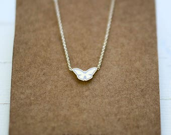 Teeny Tiny Night Moth // Silver Butterfly Necklace // Moth Necklace // Gift For Her // Zilveren Vlinder Ketting