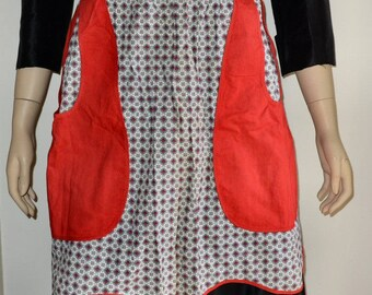 Vintage 1950'S Red, Gray and Black Cotton Hostess Apron