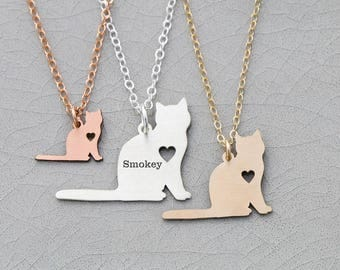 SALE • Cat Necklace • Kitty Necklace • Kitten Charm Necklace • Sterling Silver Cat • Pendant Animal Charm Cat • Gift Animal • Memorial Gift