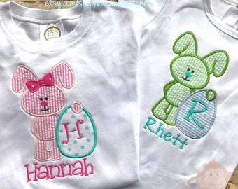 Girl Boy Brother Sister Bunny Set Bunny w/ Egg Personalized Shirt Easter Spring Outfit Bodysuit Onesie Infant Toddler Tee TShirt Set of 2