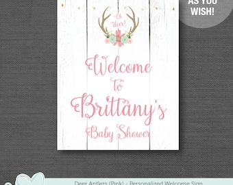 Deer Antlers Pink Welcome Sign Personalized, Baby Shower Sign, Bridal Shower Sign, Wedding Sign, 6D