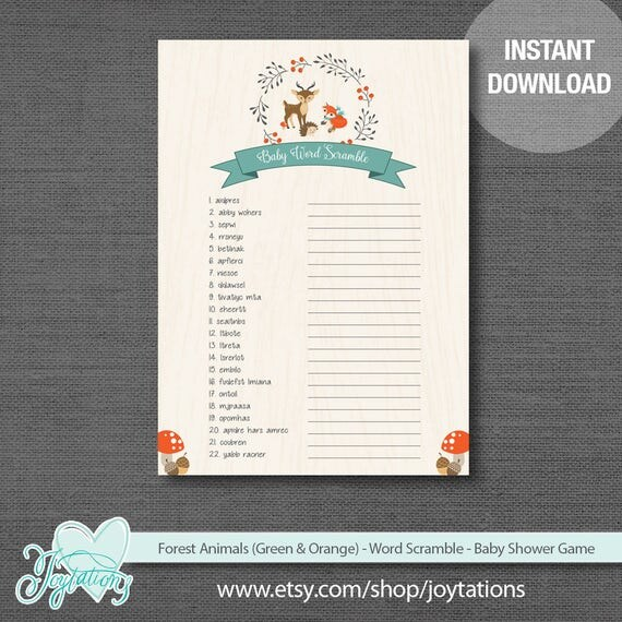 Forest Animals Word Scramble Baby Shower Game Printable Green