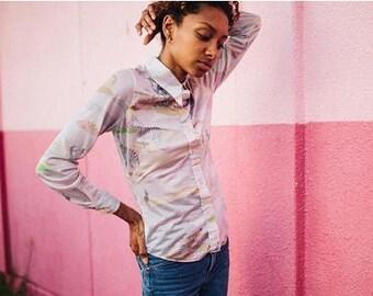 Pastel Zebra Print Button Up Blouse XS, Zebra Printed Pink Pastel Button Up 70s Blouse, Pink Pastel Blouse Small, Vintage 90s Zebra Top XS