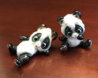 Panda Bear figurines, Josef Original tumbling Pandas, Chalkware Pandas