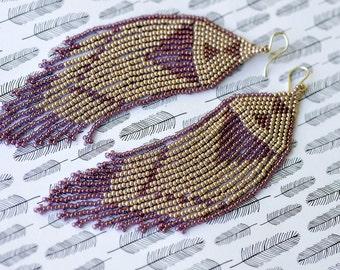 Seed Bead Earrings, Beaded Earrings, Beaded Native American Earrings, Seed Bead Jewelry, Fringe Earrings, Long Earrings, Beaded Jewelry