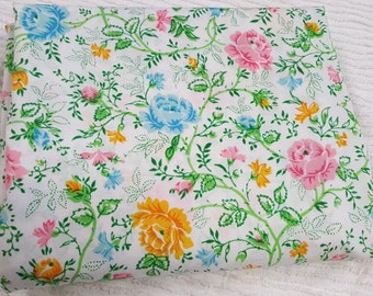 Vintage Floral Twin flat sheet by JcPenny company-Cottage chic flat sheet-Quilt fabric-Craft fabric-Bed linens-