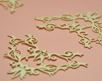 Corner Ornament Chipboard SET OF 4 - Chipboard Die Cut - Corner Shape - Laser Cut Bird #283