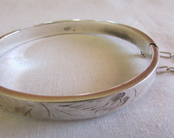 Engraved Sterling Silver Hinged Bangle Bracelet
