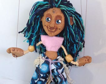 Miss Misses -Blue haired Hippy Chic - Classic Marionette Puppet Handmade by The Squeaking Tribe
